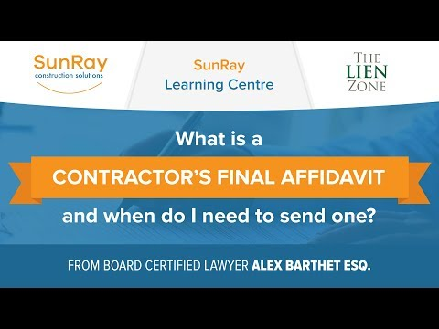 What Is A Contractor S Final Affidavit When Do I Need To