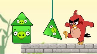 Angry Birds Piggies Out - RED BIRDS KICK THE TRIANGLE AND SQUARE PIG ALL LEVELS!
