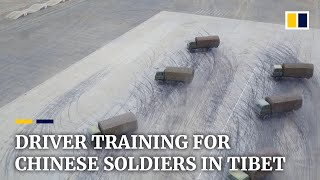 Chinese soldiers sharpen driving skills in Tibet