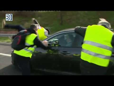 Un VTC arrolla a un taxista en Madrid