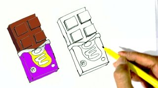 How to draw Chocolate- in easy steps for children. beginners