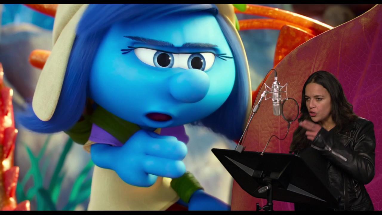 Smurfs The Lost Village Michelle Rodriguez Smurfstorm Behind Scenes Voice Recording