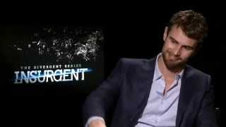 """Theo James lets AJ Gibson know what it feels like to be the heartthrob of """"INSURGENT"""""""