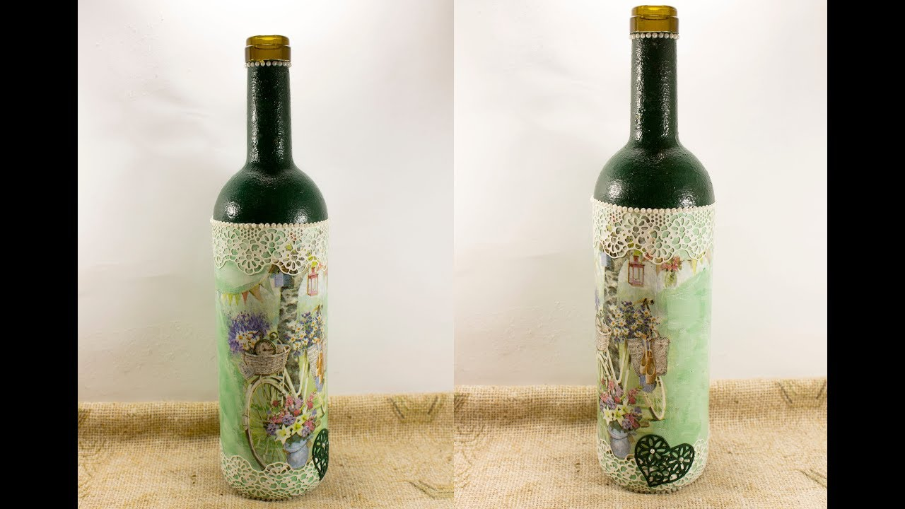 DIY 61 Decoupage on wine bottle for Valentine day gift decoupage on glass  tutorial for beginners