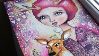 Fawn Whispers - Mixed Media Art with Willowing