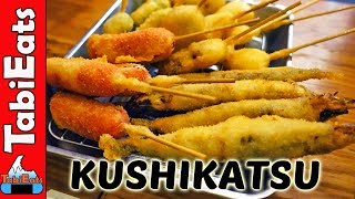 All You Can Eat KUSHIKATSU (Deep-Fried Skewers) OSAKA JAPAN