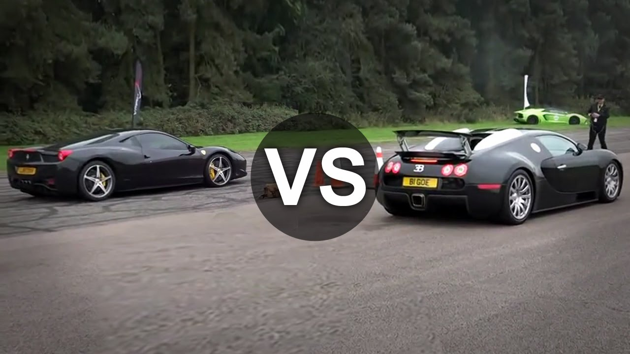 bugatti veyron vs ferrari 458 italia drag race draginfo youtube. Black Bedroom Furniture Sets. Home Design Ideas