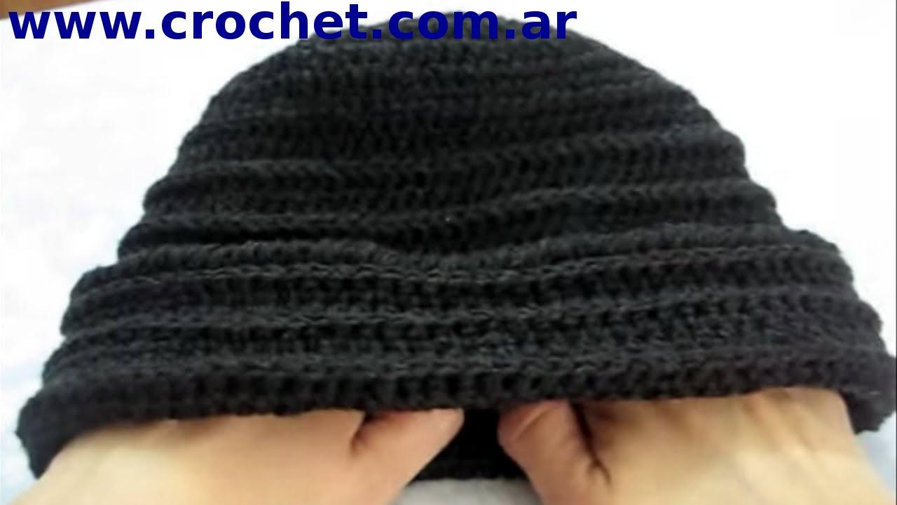 Como tejer un GORRO en tejido  crochet o ganchillo tutorial paso a paso.  Moda a Crochet - YouTube 25c2343945a