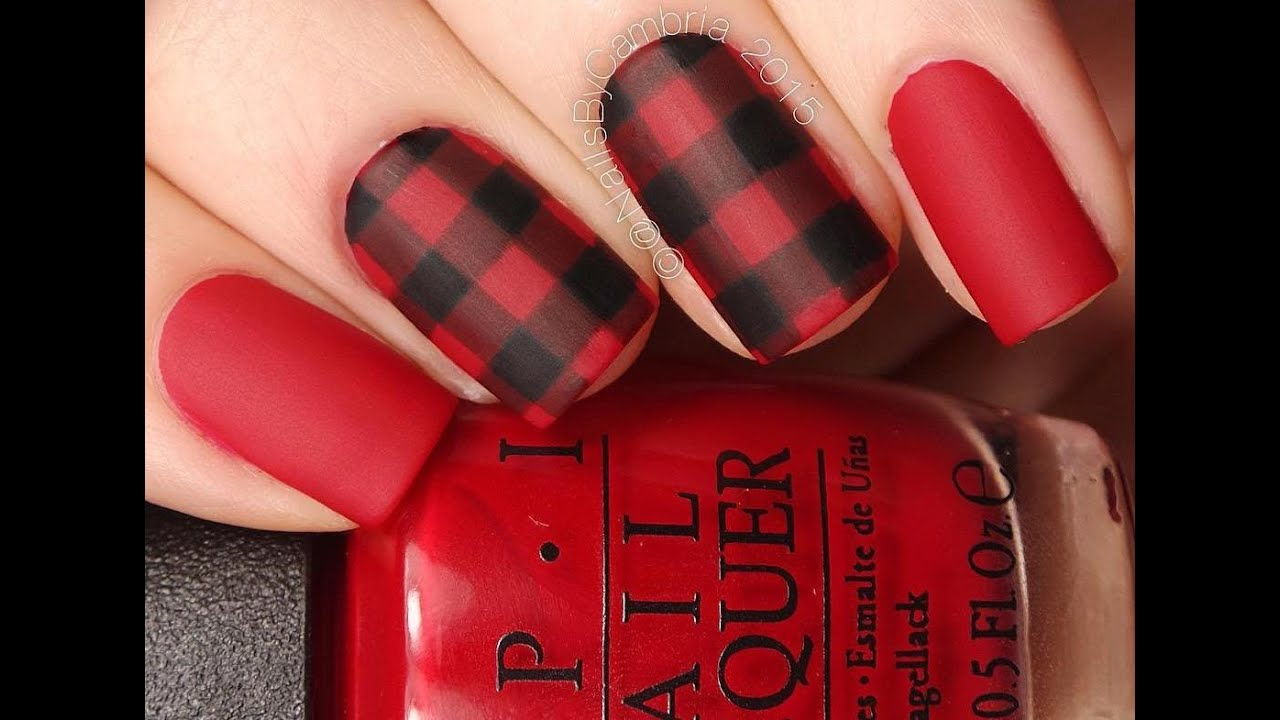 Buffalo / Red and Black Plaid Nail Art Tutorial - YouTube