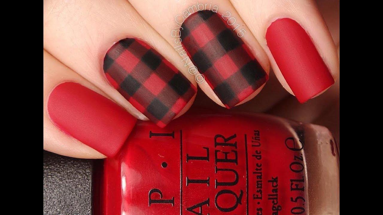 buffalo red and black plaid nail