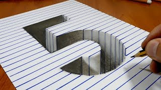 Draw a number 5 Hole on Line Paper   3D Trick Art