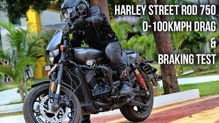 Harley Street Rod 750 0 - 100 Drag and Braking test