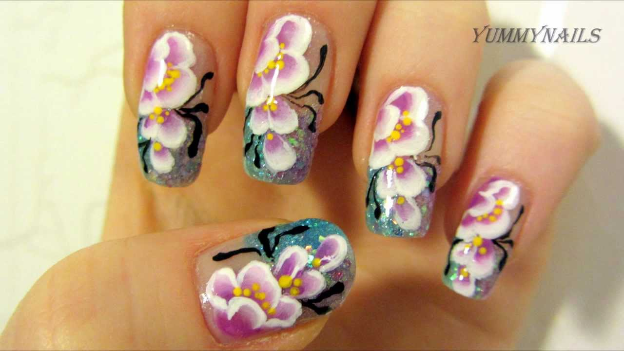 Purple & White Cherry Blossom One Stroke Design with Light Blue ...