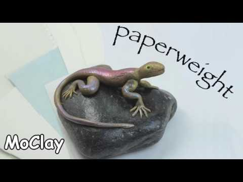 DIY stone paperweight with a Lizard - Polymer clay tutorial