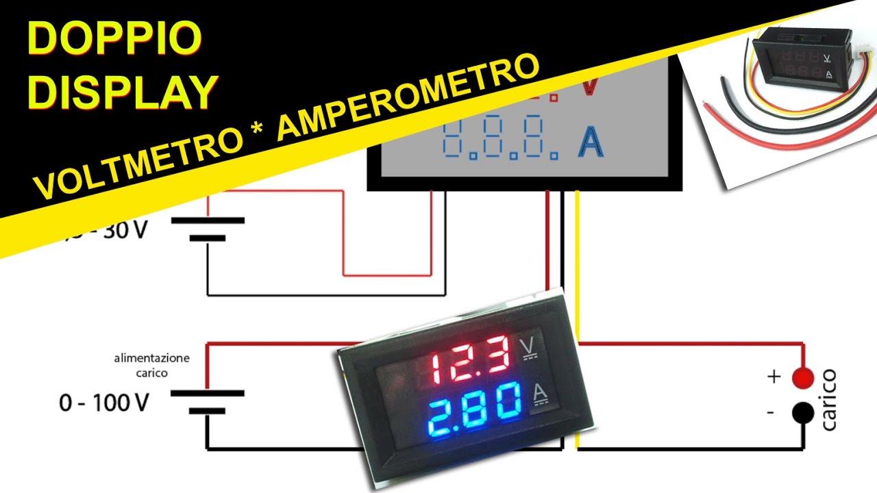AMPEROMETRO 0-100A DIGITALE DA PANNELLO LCD BLU fotovoltaico camper eolico auto