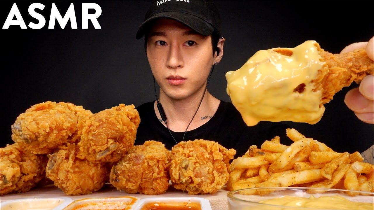 Asmr Popeyes Fried Chicken Cheese Sauce No Talking Unboxing Eating Sounds Zach Choi Asmr