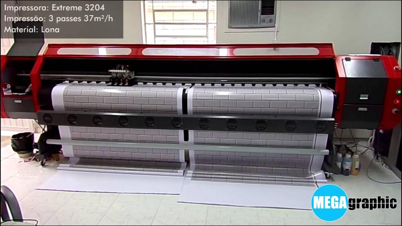 09d9c02e153d2 Plotter de Impressão Solvente EXK 3204 imprimindo em 02 lonas  simultaneamente - 3 PASSES
