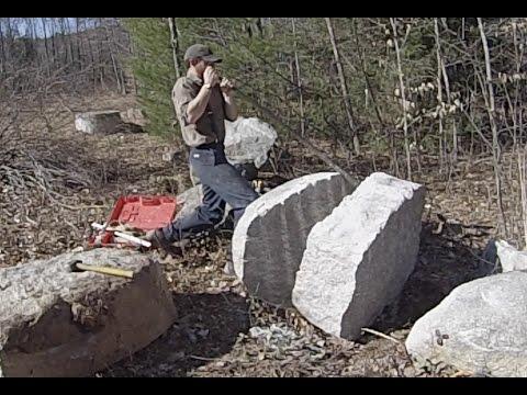 splitting-a-granite-boulder-by-hand-with-sebago-stonework
