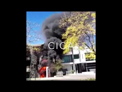 Office building on fire after explosion was heard in Rosebank Johannesburg South Africa