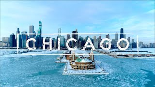 Chicago On Ice - Polar Vortex 2021 And Winter Snow Storm | 4K Drone Footage