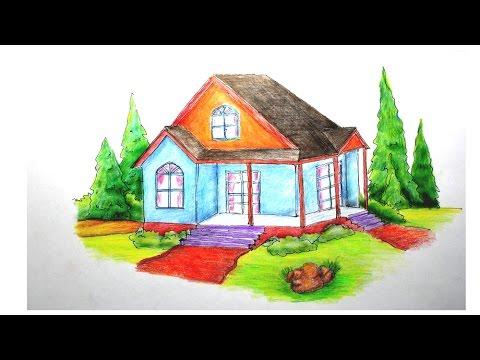cara menggambar rumah dengan pohon cemara - YouTube