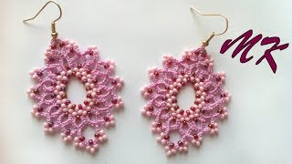Простые серьги фриволите с бисером видео мастер класс для начинающих. Earrings frivolite with beads