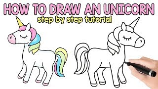 unicorn drawing draw step easy fun drawings tutorial peasy coloring pages easypeasyandfun learn play