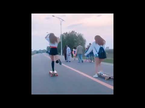 Азиаты классно катаются на скейте (лонгборде)