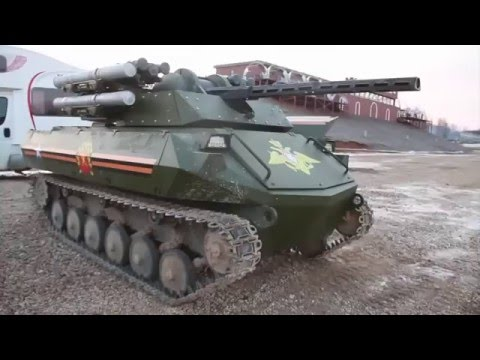 Uran-9 armed combat robot UGV Unmanned Ground Vehicle Rosboronexport Russia Russian Defense Industry