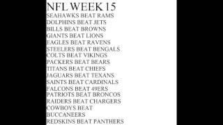NFL WEEK 15 2016 SEASON PICKS