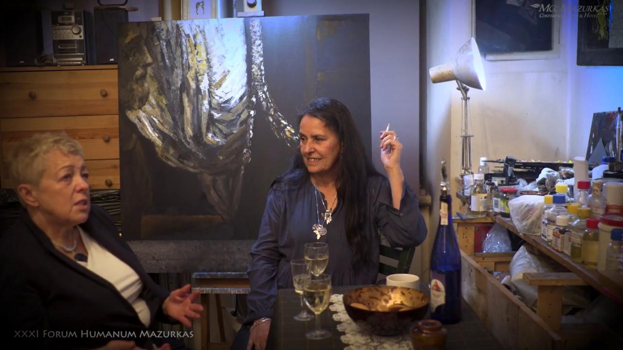 Mira Skoczek-Wojnicka, spotkanie z kurator XXXI FHMazurkas- Janiną Tuora w pracowni artystki