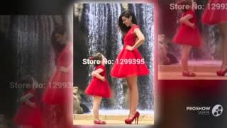 Мать дочь соответствующие платья кружева и тюль короткие красный платье с открытой спиной