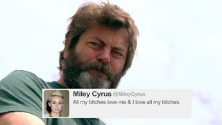 Nick Offerman Reads Tweets From Young Female Celebrities Vol. 8