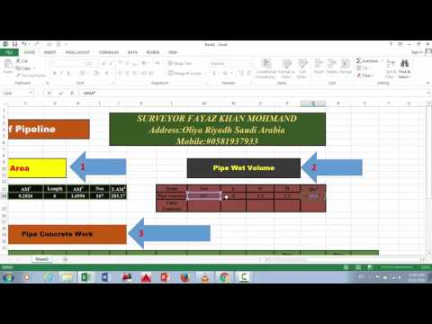 How to calculate the quantity of pipeline with concrete in Ms excel