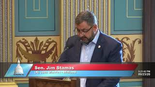 Sen. Stamas addresses the Senate in support of FY2021 budget