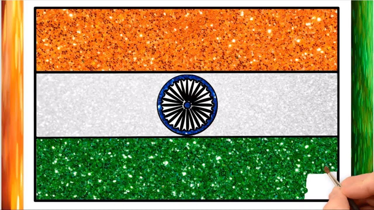 Draw India Flag Glitter Bharati National Flag Art Indian Flag Drawing For Kids Little Channel Youtube