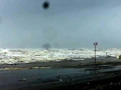 Hurricane Ike Driving on Seawall in Galveston, TX September 12, 2008