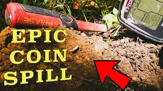 EPIC COIN SPILL!! | METAL DETECTING WIN! | 1860'S OLD GRAVEYARD