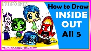 AMAZING! How to Draw Inside Out Joy Anger Disgust Sadness Fear - Fun2draw