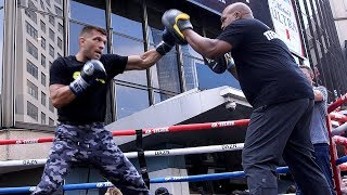 SERGIY DEREVYANCHENKO'S FULL WORKOUT FOR GENNADY GOLOVKIN - FIRES OFF COMBOS CLOSE RANGE ON PADS