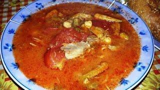 Окра Бамия с нутом и мясом  Турецкая кухня