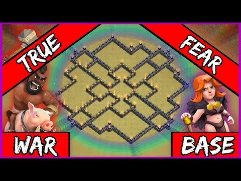 Clash Of Clans: NEW TH9 War Base w/ BOMB TOWER | Town Hall 9 Trophy Base 2016  - True Fear + Replays