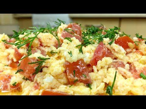 Вкусная яичница с помидорами