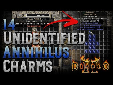 14 (15 LOL!!!) Unidentified Annihilus Charms - Diablo 2 - 1 nearly perfect god tier anni charm!!!