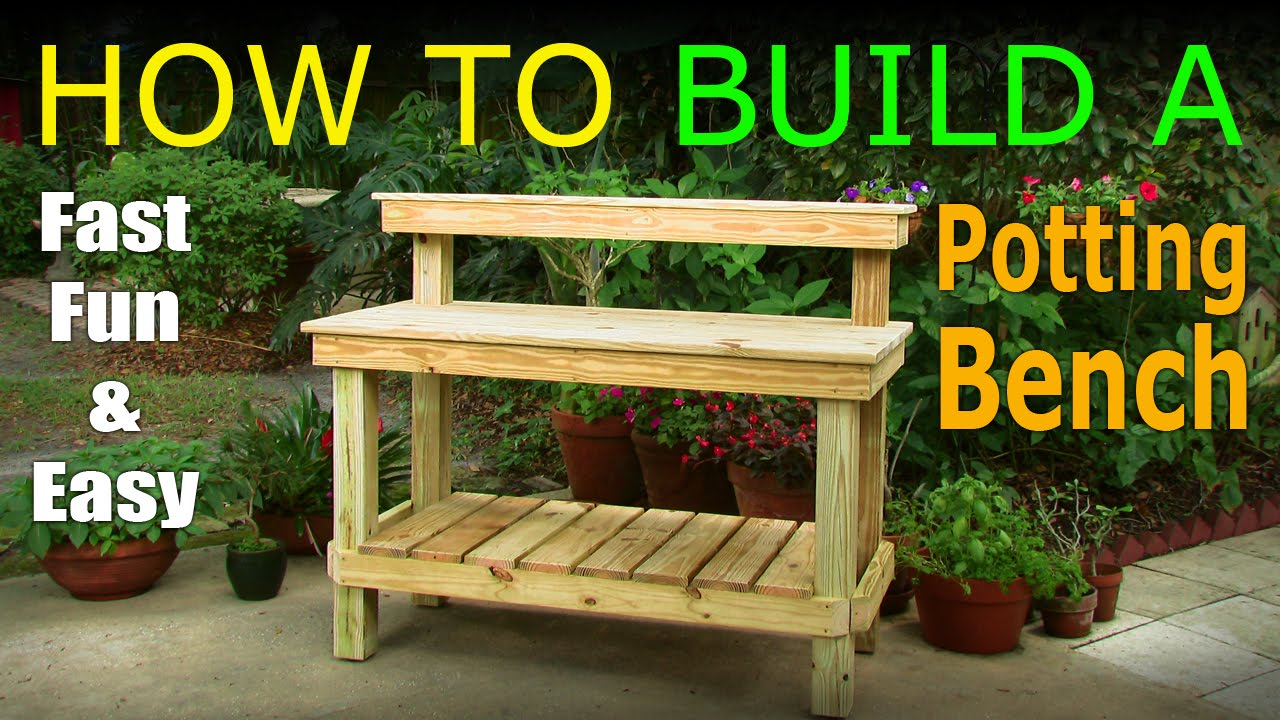 Diy how to build a potting bench work bench official video youtube for Diy garden table designs