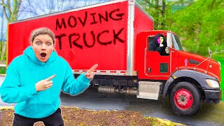GIANT MOVING TRUCK Parked OUTSIDE SHARER FAM HOUSE! (What's in The Box Challenge)