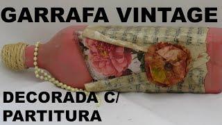GARRAFA VINTAGE DECORADA COM PARTITURA