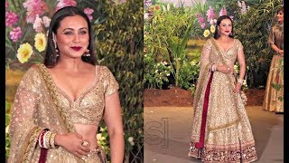 Rani Mukerji In Golden Lehenga At Sonam Kapoor Wedding Reception