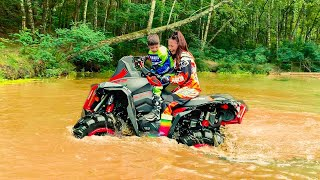 Den Ride on Cross Bike in the park and Mom's Monster Quad Bike in the river