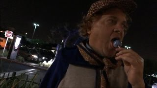 Homeless Willy Wonka Tries to Lure Andy Milonakis With Candy